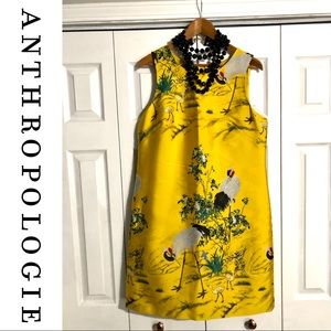 Anthropologie Yellow Embroidered Print Dress • 10